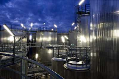 Night photo of biodiesel manufacturing plant, Germany